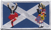 Scotland Saltire Highland Dancer & Piper Embroidered Badge (a486)